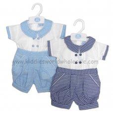 R17985: Baby Boys Shirt & Gingham Short Set (0-9 Months)