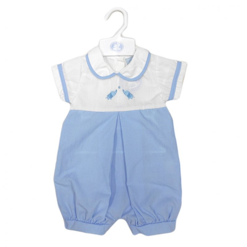 R17991: Baby Boys Romper With Elephant Embroidery (0-9 Months)
