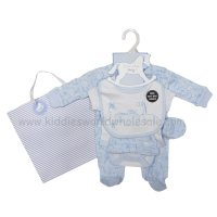 R17994: Baby Boys Animals 6 Piece Net Bag Gift Set (NB-6 Months)