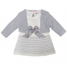 R18009: Baby Girls Grey Knitted Bolero & Dress With Bow (0-9 Months, Slight Fault)