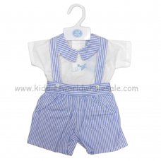 R18016: Baby Boys Top With Aeroplane Embroidery & Stripe Dungaree Outfit (0-9 Months)