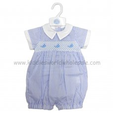 R18017: Baby Boys Stripe Romper With Smocking & Embroidery (0-9 Months)