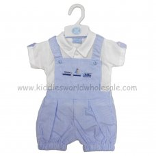 R18018: Baby Boys Shirt & Stripe Dungaree With Boats Embroidery Outfit (0-9 Months)
