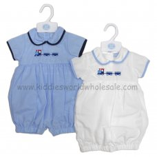 R18020: Baby Boys Romper With Train Embroidery (0-9 Months)