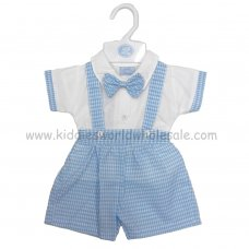 R18021: Baby Boys Shirt With Mock Bow Tie & Check Dungaree Outfit (0-9 Months)