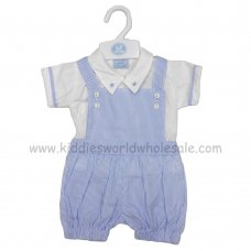 R18022: Baby Boys Shirt & Stripe Dungaree Outfit (0-9 Months)