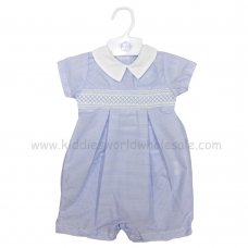 R18024: Baby Boys Stripe Romper With Smocking (0-9 Months)