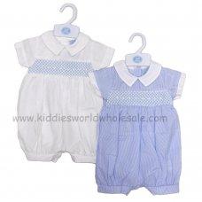 R18026: Baby Boys Stripe Romper With Smocking (0-9 Months)