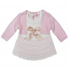 R18034: Baby Girls Pink Knitted Bolero & Dress With Bow (0-9 Months, Slight Fault)