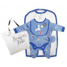 R18046: Baby Boys Animals 6 Piece Net Bag Gift Set (NB-6 Months)