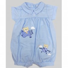 R18147: Baby Boys Romper With Bear Embroidery (0-9 Months)