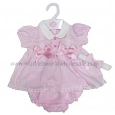 R18160: Baby Girls Flowers & Bows Dress, Pant & Headband Set (0-9 Months)