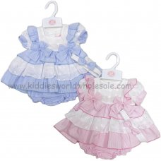 R18161: Baby Girls Striped, Broderie Anglais Tiered Dress, Pant & Headband Set (0-9 Months)