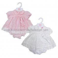R18170: Baby Girls Broderie Anglais Dress, Pant & Headband Set (0-9 Months)