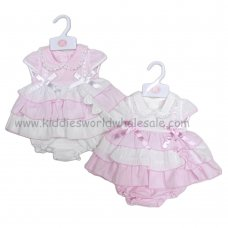 R18172B: Baby Girls Lace & Bows, Tiered Dress, Pant & Headband Set (6-24 Months)