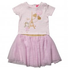 R18178B: Girls Paris 3D T-Shirt & Glitter Print Tutu Skirt Outfit (2-5 Years)