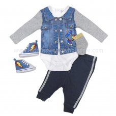 R18189: Baby Boys Denim Look 4 Piece Outfit With Shoes (0-12 Months)