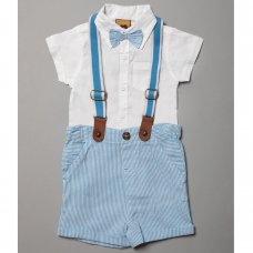 R18199: Baby Boys Bodysuit Shirt With Bow Tie & Chino Short With Braces Outfit (3-6 Months)