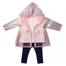 R18204: Baby Girls Unicorn Raincoat, T-Shirt & Legging Outfit (1-3 Years)