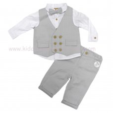 R18222: Baby Boys 4 Piece Waistcoat & Bow Tie Outfit (3-24 Months)