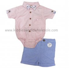 R18227: Baby Boys Bodysuit Shirt With Bow Tie & Chino Short Outfit (0-18 Months)
