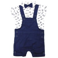 R18236: Baby Boys All Over Print Shirt With Bow Tie & Herringbone Dungaree Outfit  (3-24 Months)