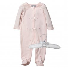 R18239: Baby Girls Floral Embroideries All In One On A Satin Padded Hanger (0-12 Months)