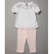 R18240: Baby Girls Top & Legging Outfit On A Satin Padded Hanger (6-12 Months)