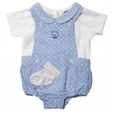 R18262: Baby Boys Chambray Dungaree, Top & Socks Outfit (0-12 Months)