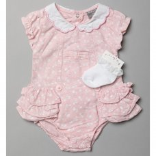 R18286: Baby Girls Floral Chambray Romper & Socks (0-12 Months)
