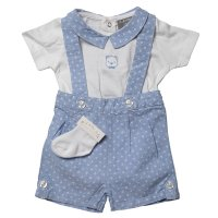 R18289: Baby Boys Bodysuit, Chambray Short With Braces & Socks Outfit (0-12 Months)