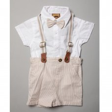 R18308: Baby Boys Bodysuit Shirt With Bow Tie & Chino Short With Braces Outfit (3-24 Months)