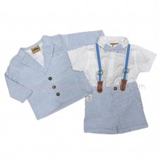 R18309: Baby Boys 4 Piece Woven Blazer & Bow Tie Outfit (3-24 Months)
