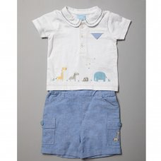 R18312: Baby Boys Chambray Short & Polo Top With Embroidery Outfit (0-12 Months)