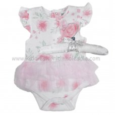 R18315: Baby Girls Floral Bodysuit With Tutu On A Satin Padded Hanger (0-12 Months)