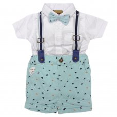 R18317: Baby Boys Bodysuit Shirt With Bow Tie & Chino Short With Braces Outfit (0-18 Months)