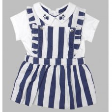 R18320: Baby Girls Stripe Pinafore Dress & Bodysuit  Outfit  (0-12 Months)
