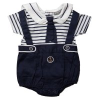 R18322: Baby Boys Nautical Short With Braces & Sailor Top Outfit (0-9 Months)