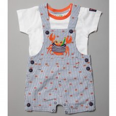 R18328: Baby Boys Crab Woven Dungaree & T-Shirt Outfit  (6-24 Months)