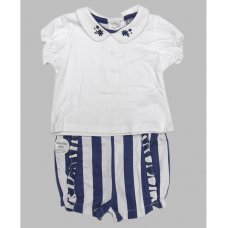 R18330: Baby Girls Top & Stripe Short Outfit  (0-18 Months)
