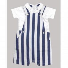 R18331: Baby Boys Stripe Dungaree & Top  Outfit  (0-12 Months)