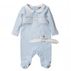 R18342: Baby Boys Bear All In One With Smocking On A Satin Padded Hanger (0-9 Months)