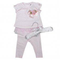 R18348: Baby Girls Cotton 2 Piece With 3D Flower & Tutu On A Satin Padded Hanger (0-12 Months)