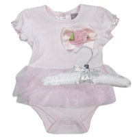 R18349: Baby Girls Cotton Bodysuit With 3D Flower & Tutu On A Satin Padded Hanger (0-12 Months)