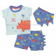 R18376: Baby Boys Dinosaur T-Shirt, Short & Bib Outfit (0-12 Months)