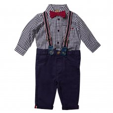 R18390: Baby Boys Bodysuit Shirt With Bow Tie & Chino Pant With Braces Outfit (0-18 Months)