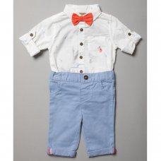 R18394: Baby Boys Bodysuit Shirt With Bow Tie & Chino Pant  Outfit (0-18 Months)