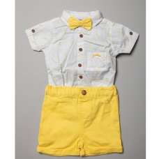 R18408: Baby Boys Bodysuit Shirt With Bow Tie & Chino Short Outfit (0-18 Months)