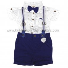 R18409: Baby Boys Bodysuit Shirt With Bow Tie & Chino Short With Braces Outfit (0-18 Months)
