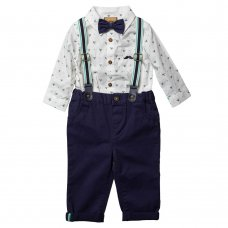 R18411: Baby Boys Bodysuit Shirt With Bow Tie & Chino Pant With Braces Outfit (0-18 Months)
